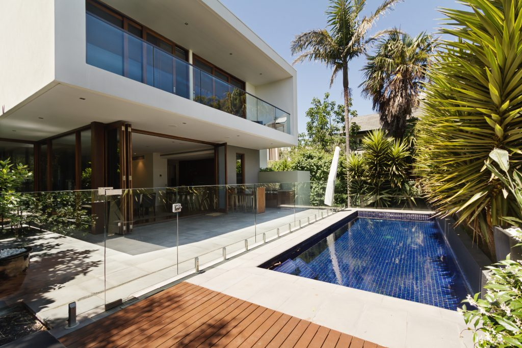 Backyard fenced pool for the family